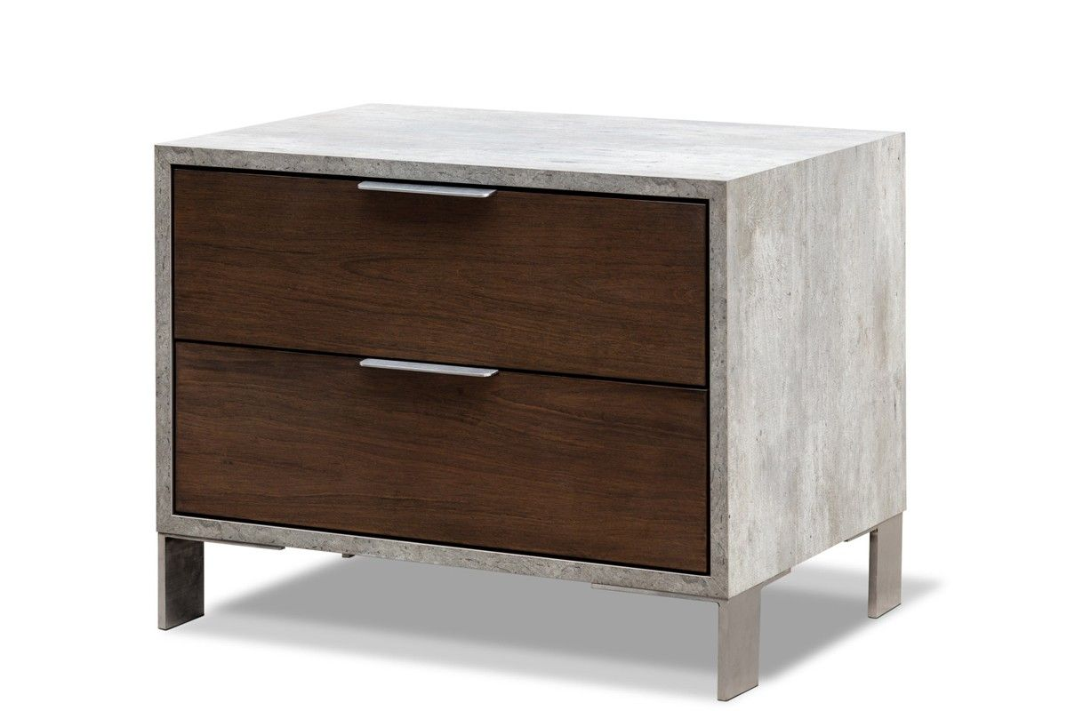 Modrest Conner Modern Dark Walnut & Concrete Nightstand