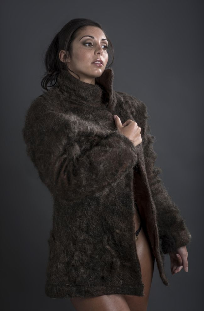 Fur coat made entirely from male chest hair