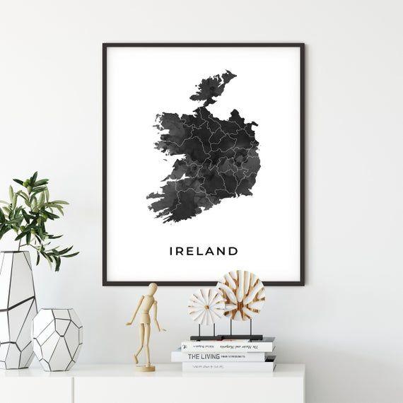 Ireland Map Art Poster Black And White Wall Art Print Of Etsy Black And White Wall Art Map Art Wall Art Prints