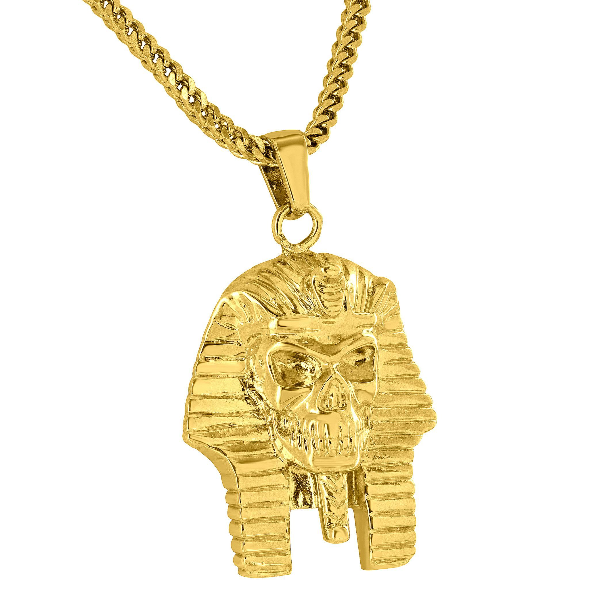 Egyptian pharaoh skull pendant k gold finish free