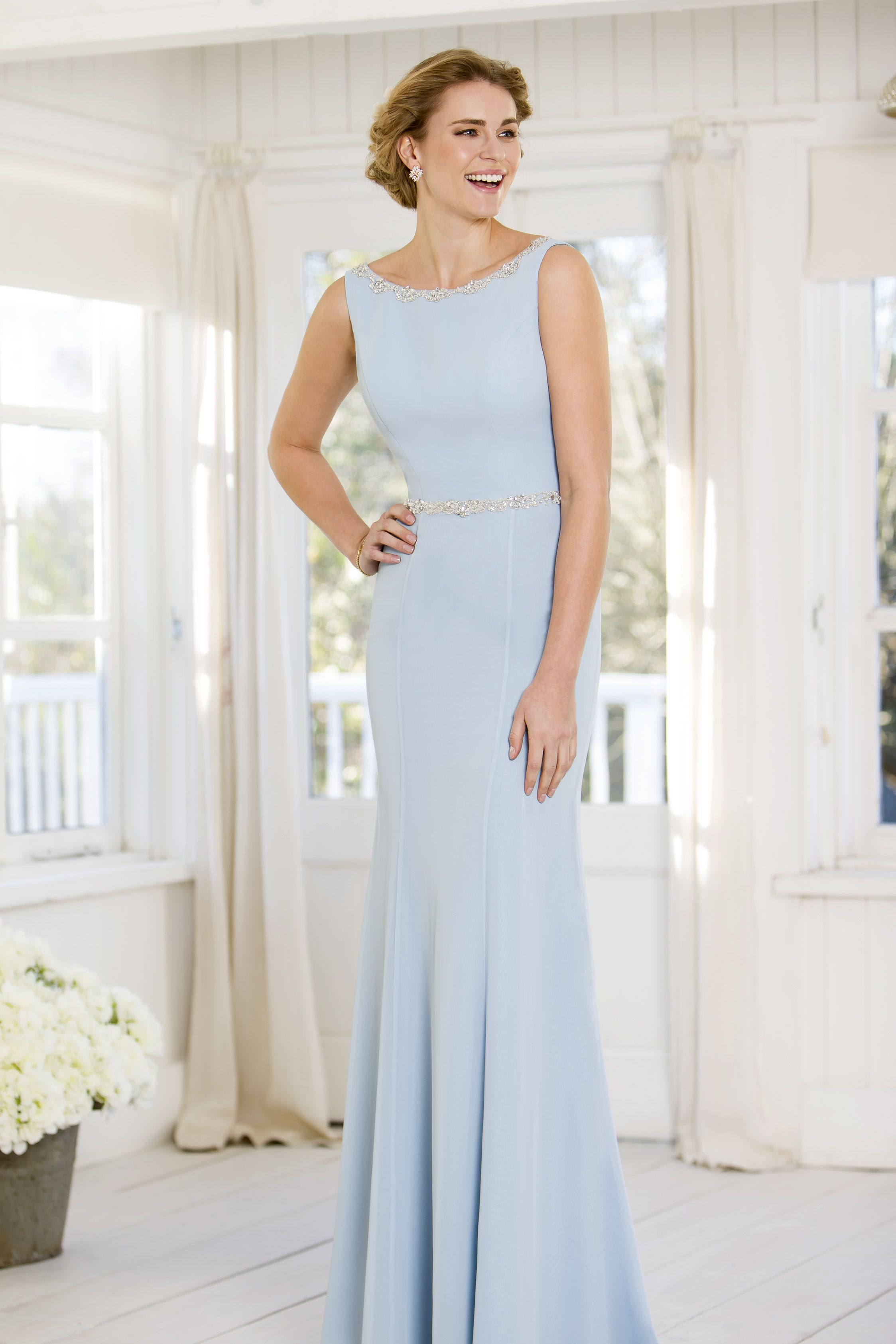 True Bride M708 Blue Chiffon Bridesmaid Gown Available In 50 Diffe Colours