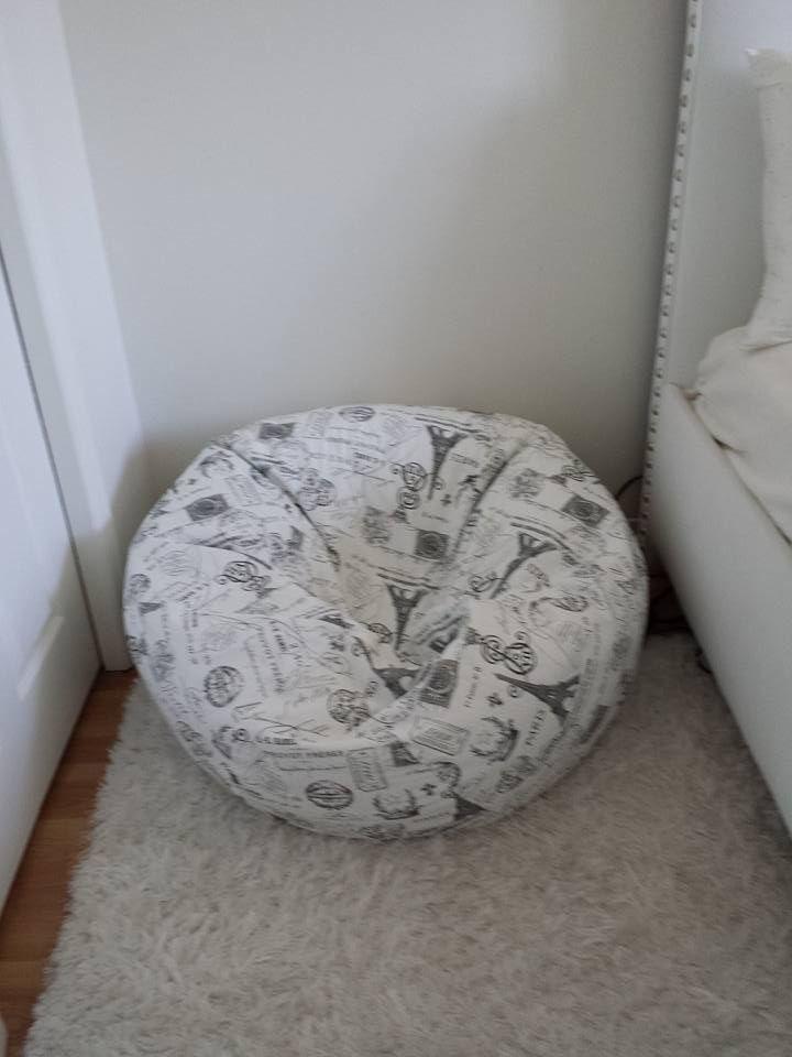 Bean bag chair in a white background paris print from
