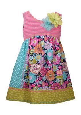 Bonnie Jean Little Girls Mix Print Patchwork Knit Dress//Legging Set