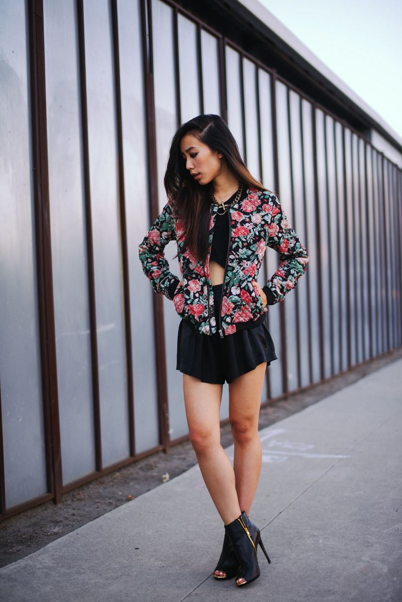 Our favorite L.A. It Girl, Neon Blush blogger Jenny Ong, looks sweet and sporty in the DIANNA peep-toe, pairing the sleek, yet tough heel with high-waisted shorts and a floral baseball jacket.