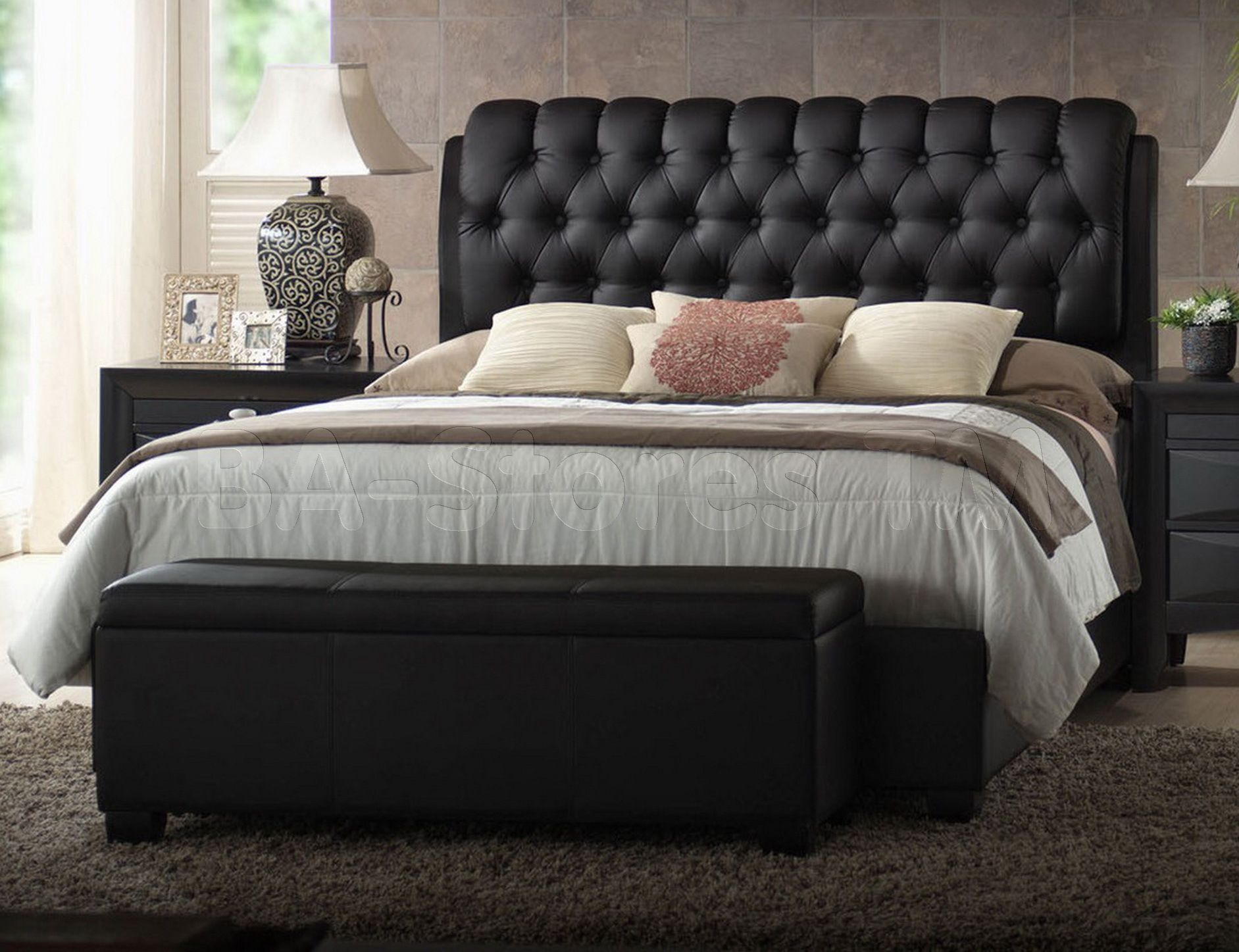 Contemporary Bedroom Set London Black By Acme Furniture: King Size Tufted Headboard With Contemporary Jazmin Tufted