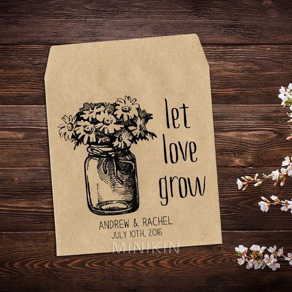 Wedding Seed Packet, 25 Personalized Wedding Favor, Rustic