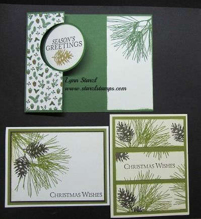 Ornamental Pine stamp set, Circle Card thinlits for the top card. www.starzlstamps.com