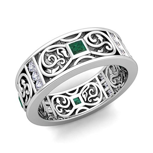 Princess Cut Celtic Knot Emerald Wedding Band Ring In 14k Gold 75mm This