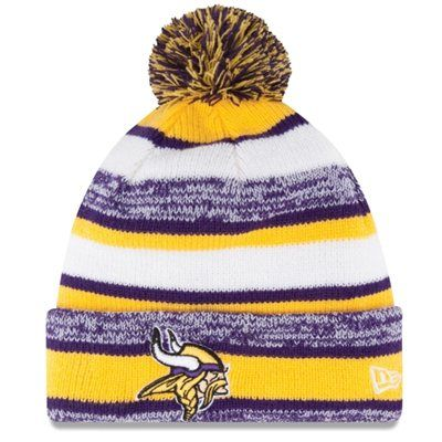 Mens Minnesota Vikings New Era Gold On Field Sport Sideline Cuffed Knit Hat Tejidos Deportes