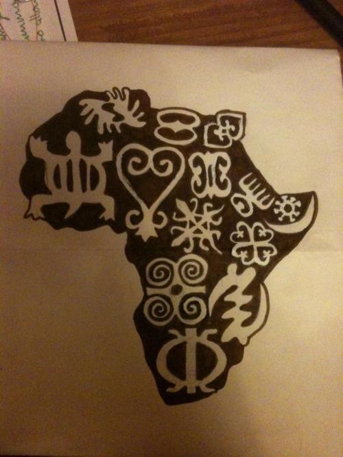 Amazing Black African Map Tattoo With Symbols Design