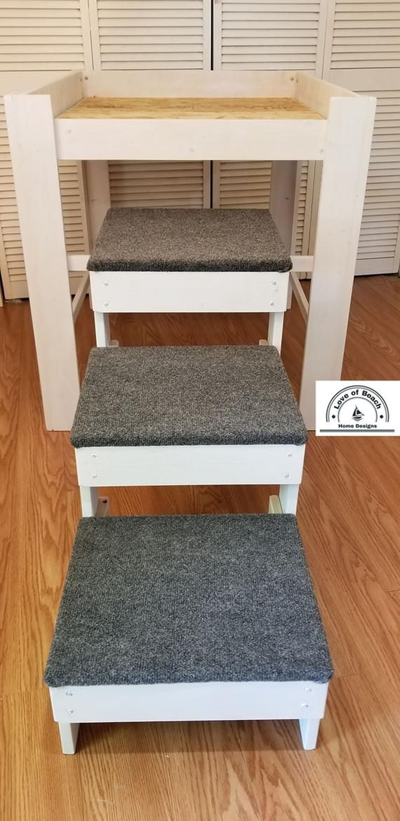 Large Dog Bed with 3 StepsWood Raised Dog Bed Elevated