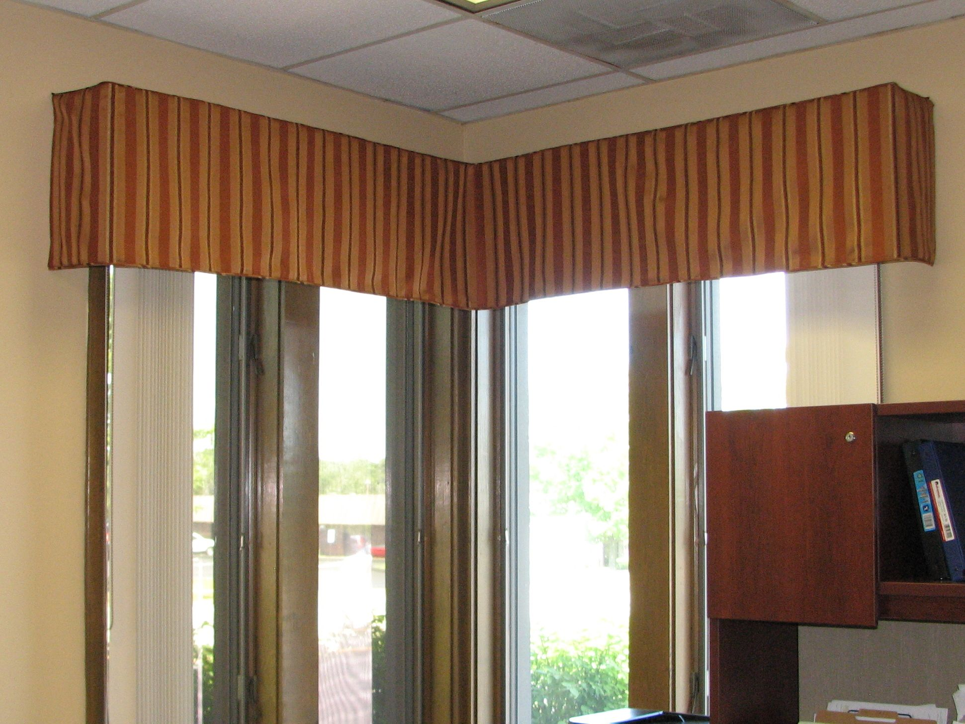 Superb A Corner Valance Custom Fit To Office Window