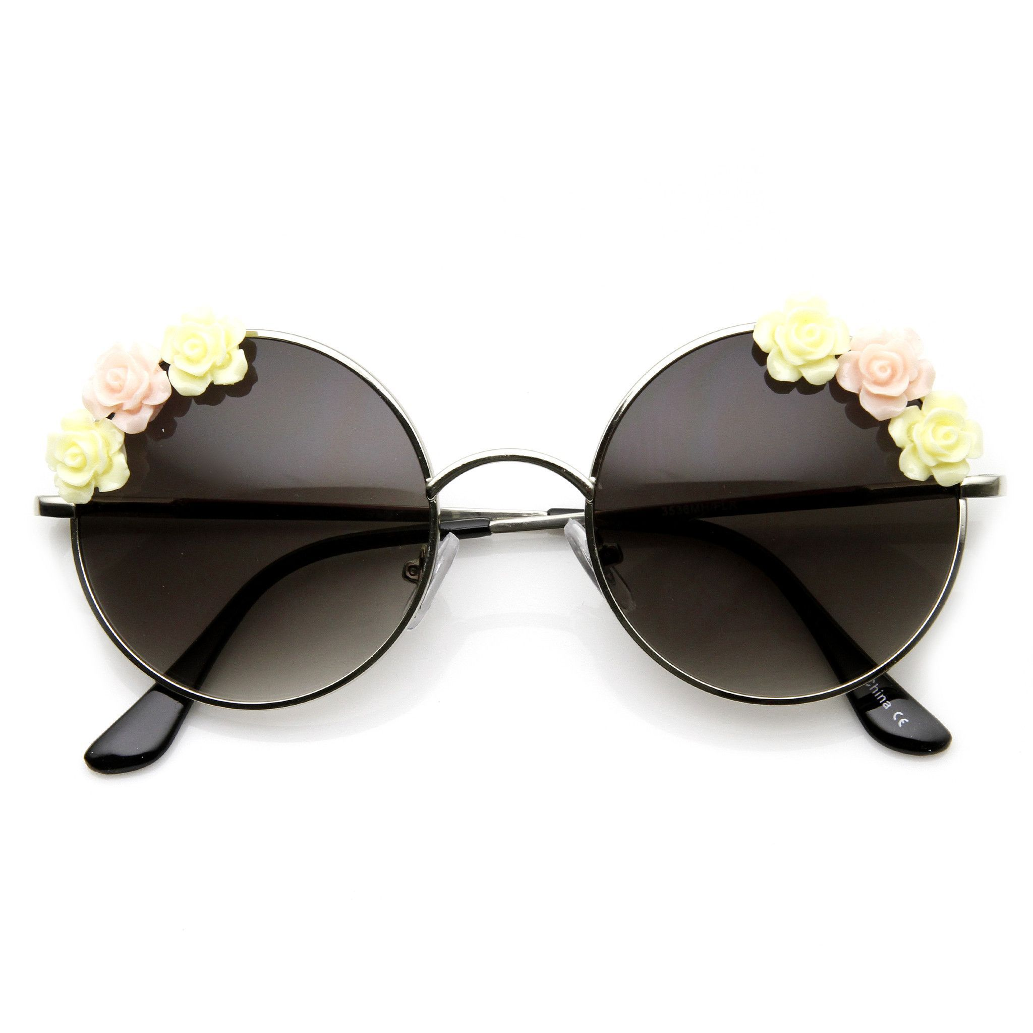 Flower Adorned Womens Hippie Floral Metal Round Sunglasses 9317