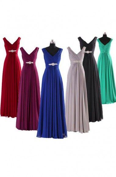Elegant A-line V-neck Long Chiffon Bridesmaid Dress with Rhinestone