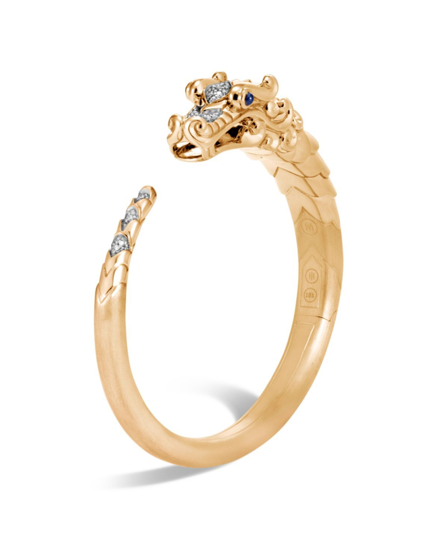 12cbd2889c9 John Hardy Brushed 18K Yellow Gold Legends Naga Pavé Diamond Small Kick  Cuff with Sapphire Eyes