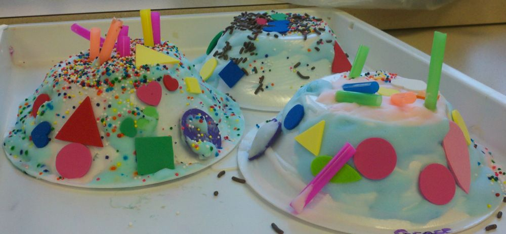 Birthday Cakes Craft Made Out Of Upside Down Paper Bowls Great