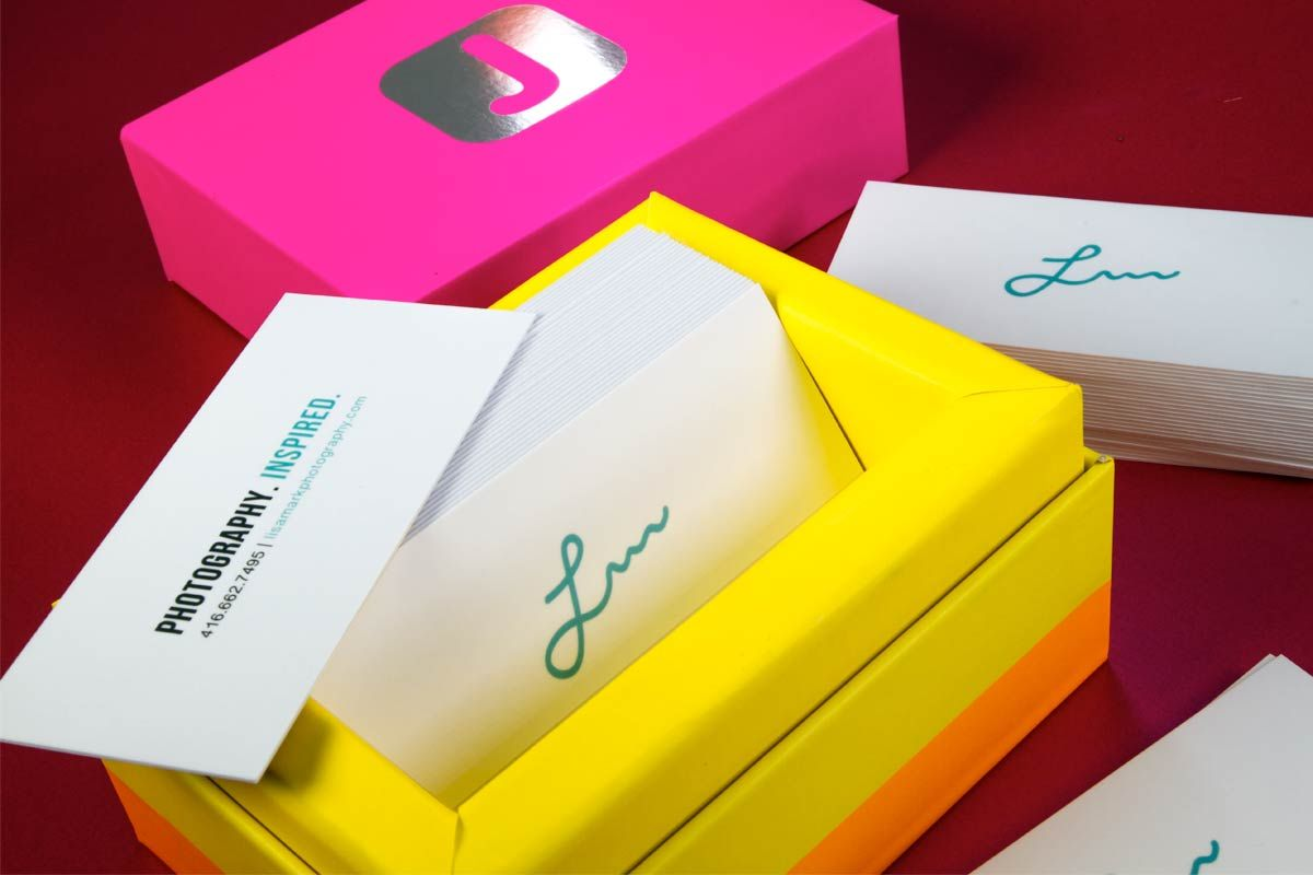 Lisa Mark Photography business cards produced on 24pt with silk ...