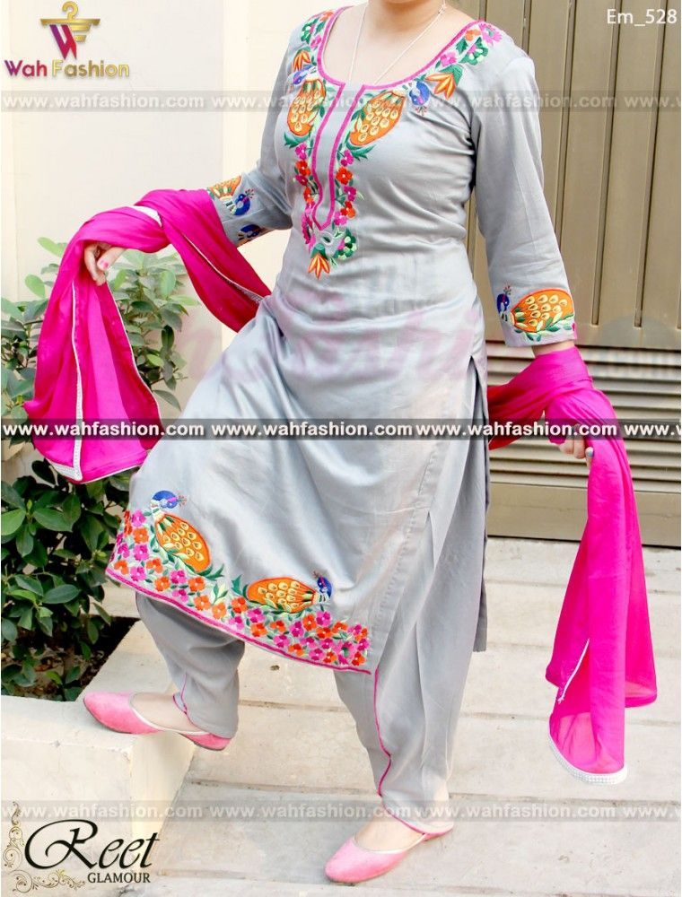 Resplendent Gray Embroidered Punjabi Suit | Suits | Pinterest