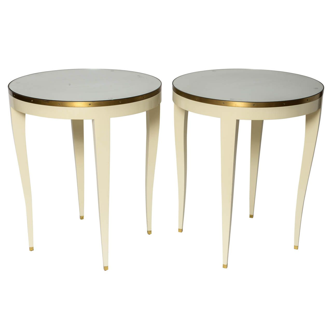 Angelo Donghia Round Side Tables   1stdibs.com