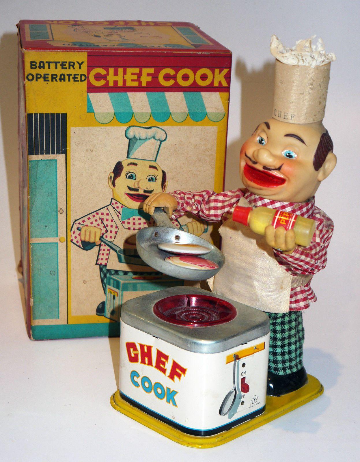 Yonezawa Chef Cook Batt Op toy from 60s ebay