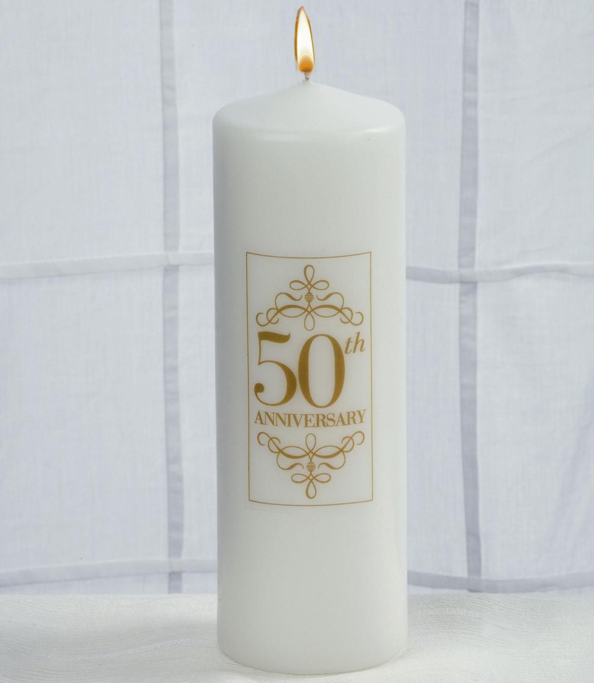 50th Wedding Anniversary Candle Made Of Solid White Wax It Features A Clic Cylindrical Shape