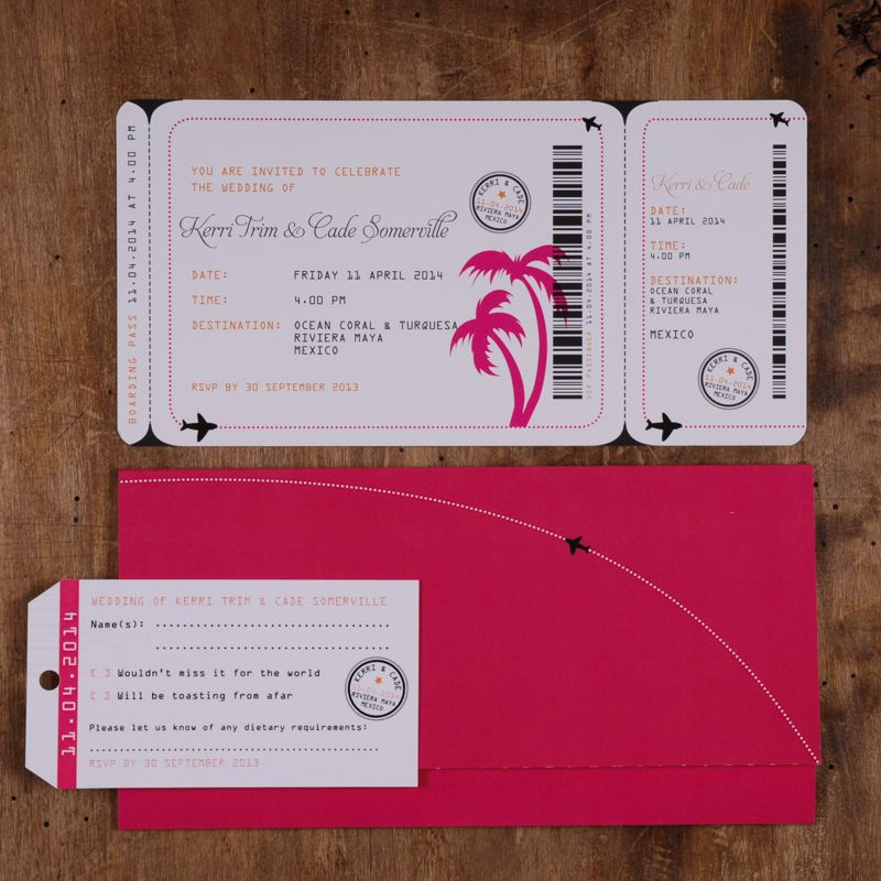 destination wedding invitation rsvp date%0A Boarding Pass Invitation Set