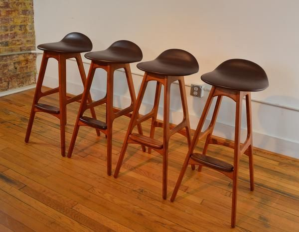 Eric Buch Bar Stools Teak and Rosewood Set of 4