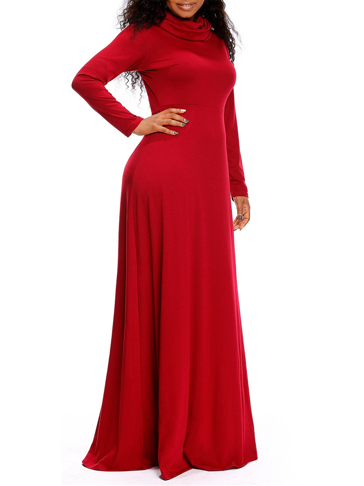 Onlypuff red plus size women long sleeve maxi dress cowl neck casual
