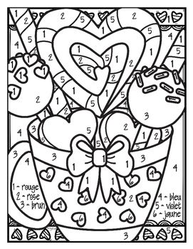 Free French Valentine Colour By Number Valentine Coloring Pages Valentine Coloring Valentine Activities