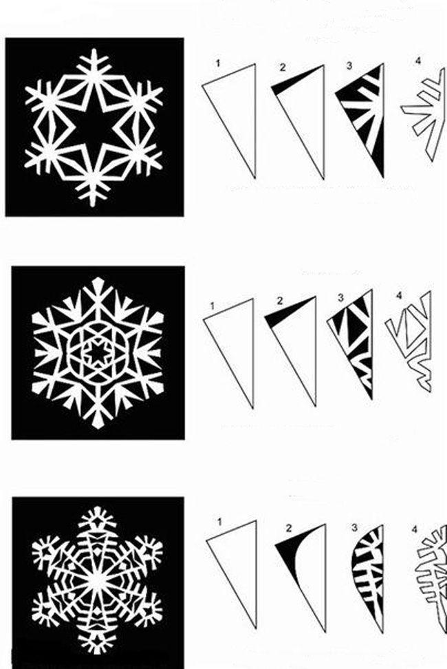 Как вырезать снежинки из бумаги? Поэтапные схемы снежинок ...