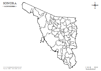 Mapa De Municipios De Sonora Em Blanco Para Completar Y Colorear Mapas Sonora Mapa Para Colorear