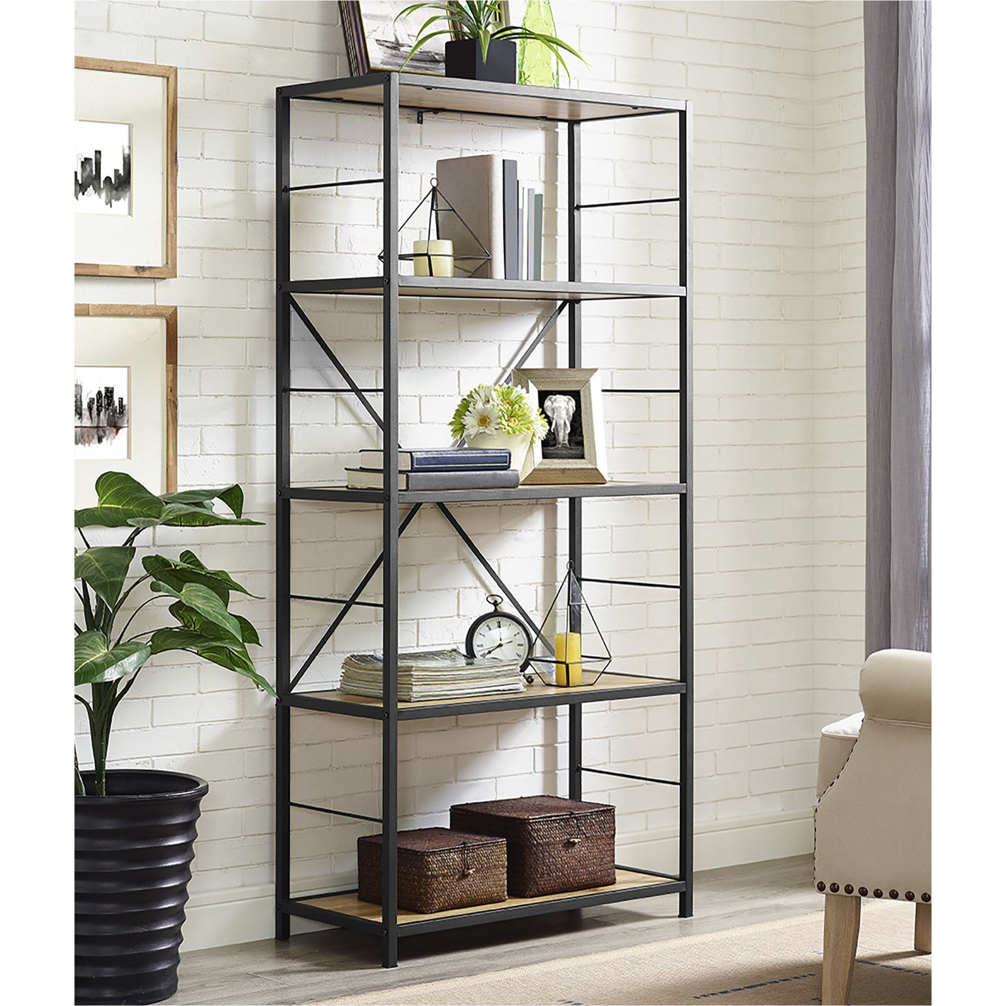 60 Rustic Metal And Wood Media Bookshelf