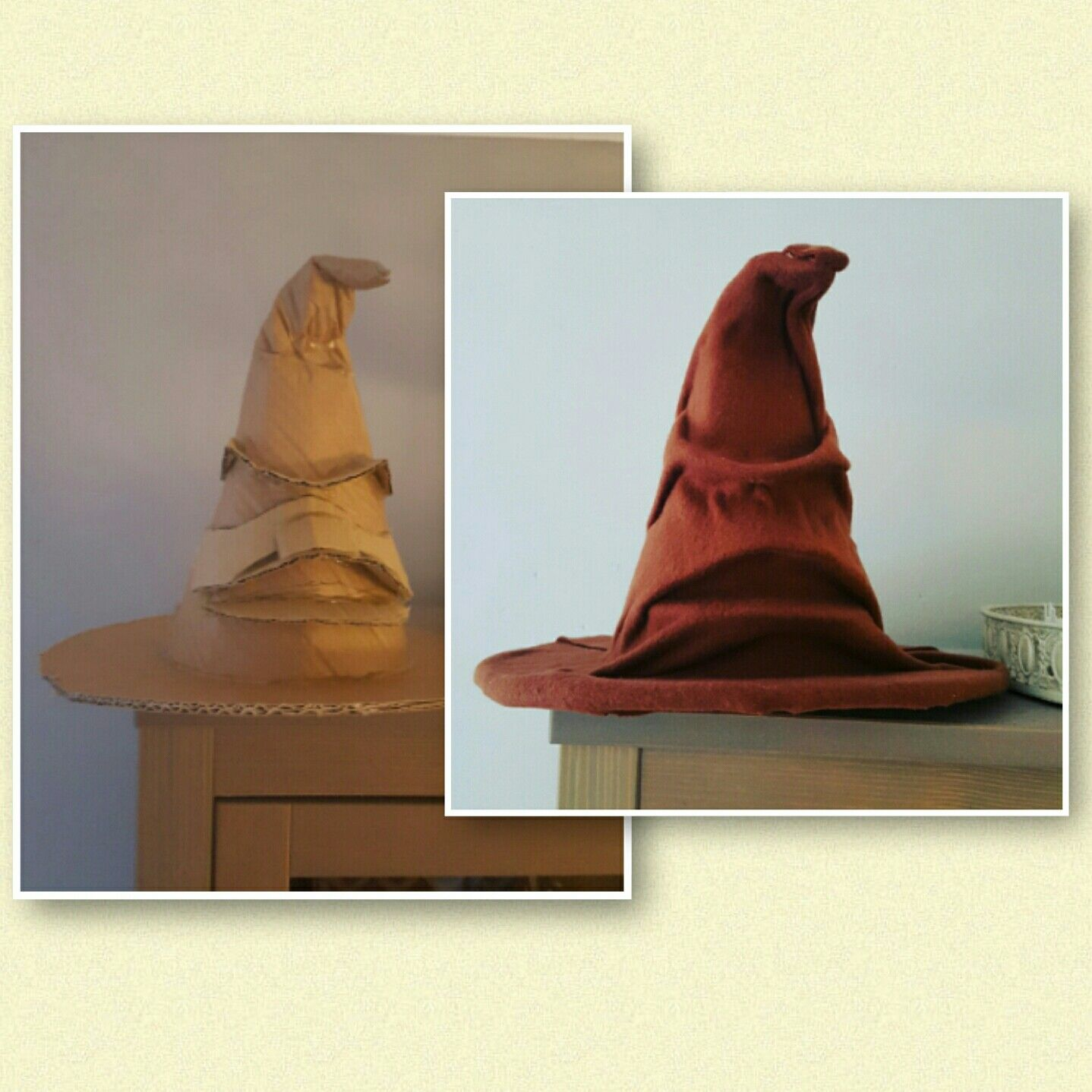 Created Harry Potter's Sorting Hat by recreating a Halloween witch hat from carbon, put it together with hot glue, created the mimics with carbon and hot glue and covered it with old brown fabric that was laying around. I used contact cement for that...