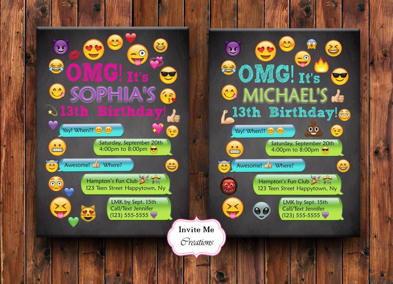 Emoji Birthday Invitation Emoji Invite Girl Personalized