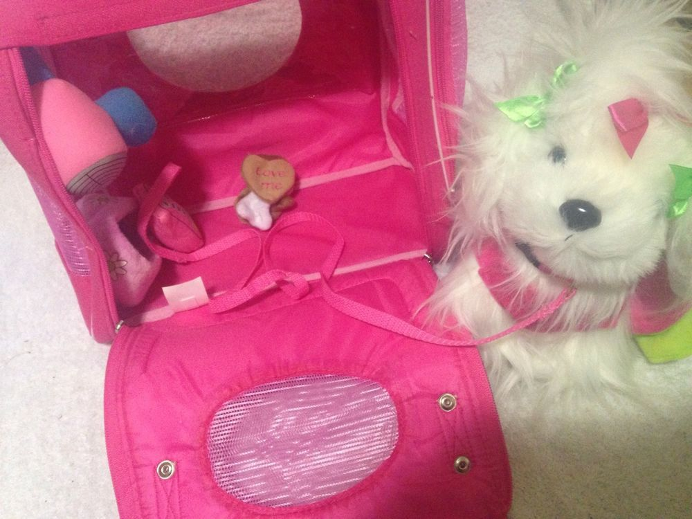Pucci Pups White Fluffy Dog With Carrier And Accessories
