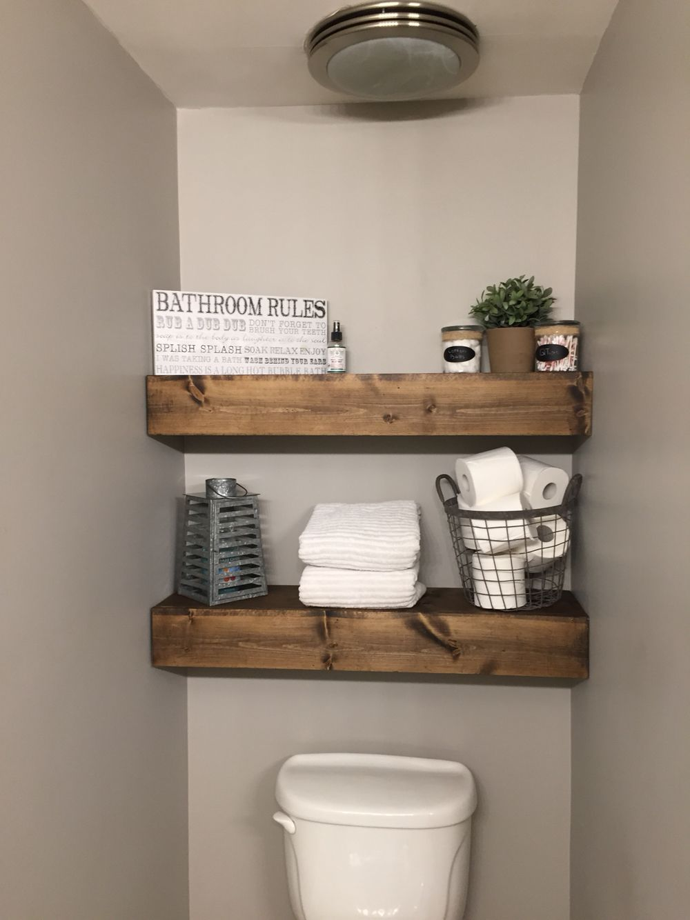 Built In Bathroom Shelves We Built These Chunky Wood Shelves In Our Bathroom I Love Them