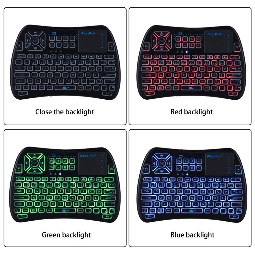 2018 TV Remote) iPazzPort RGB Backlit Mini Wireless Keyboard