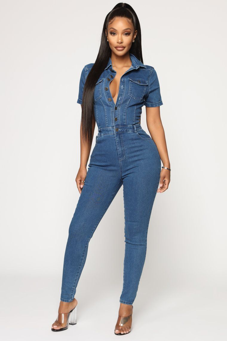lovever Womens One Piece Casual Jean Denim Jumpsuit Long Sleeve Jumpsuits Overall