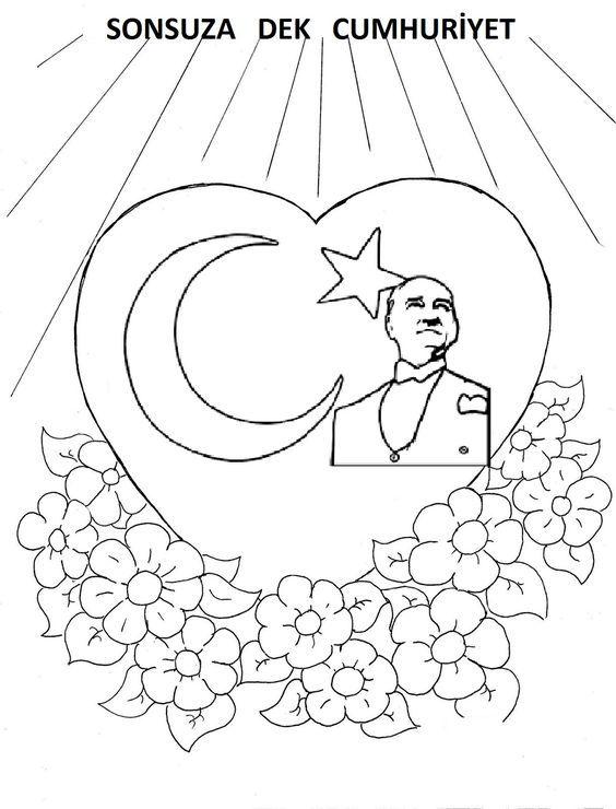 Cumhuriyetbayrami Boyamasayfalari Cumhuriyet Bayrak