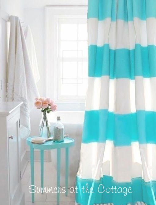 Coastal living beach house aqua turquoise teal cabana stripe shower ...