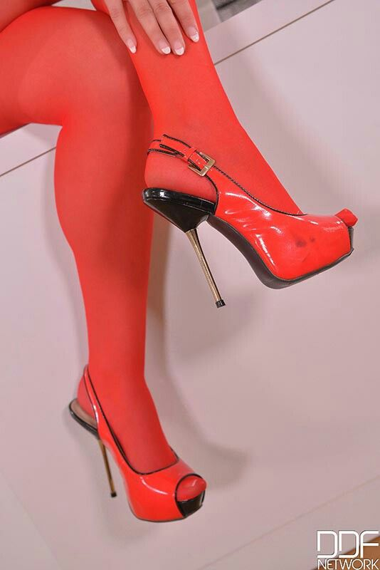 e2bb248dcad3 Sexy red opaque nylons in pretty red patent leather red open toe slingbacks.
