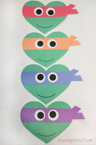 valentines day ninja turtle craft for kids heart shaped teenage