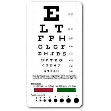 Snellen Pocket Eye Chart Medical Supplies Eye Chart Medical