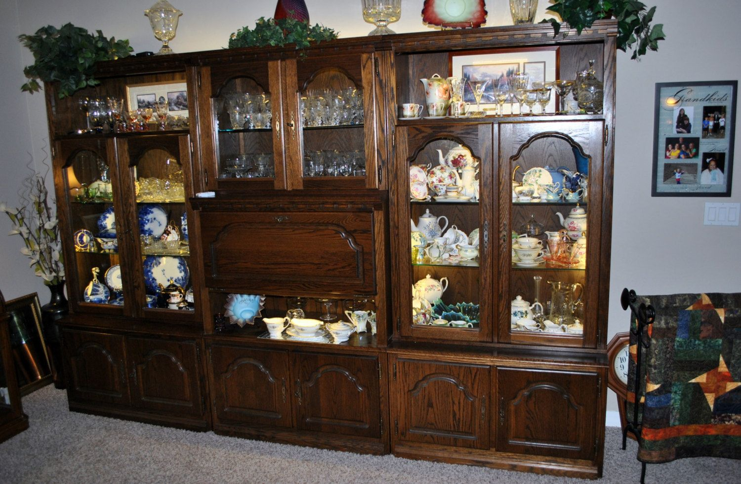 German Made Shrunk Wall Unit Solid Oak In Six Sections Drawer And Shelf Storage Fully Lighted With Led Wall Unit Built Ins German Wall