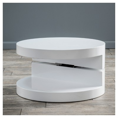 Osto Small Oval Rotatable Coffee Table Glossy White Christopher Knight Home Coffee Table Pedestal Coffee Table Circular Coffee Table