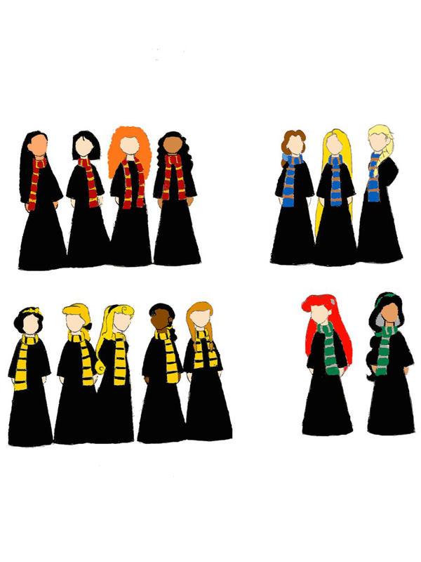 Disney Princesses Hogwarts By Im On A Roll On Deviantart Disney Hogwarts Harry Potter Disney Hogwarts Founders