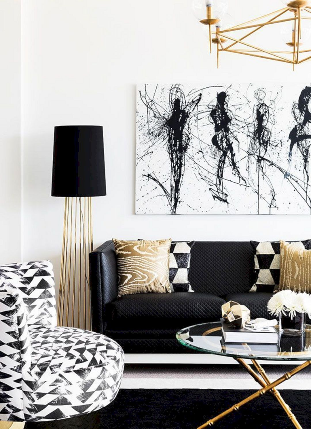 Black White And Gold Living Room Design 16 Modern White Living