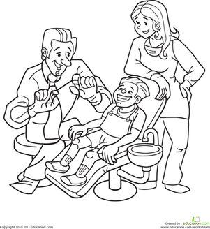 Dentist Coloring Page | Worksheets and Kindergarten