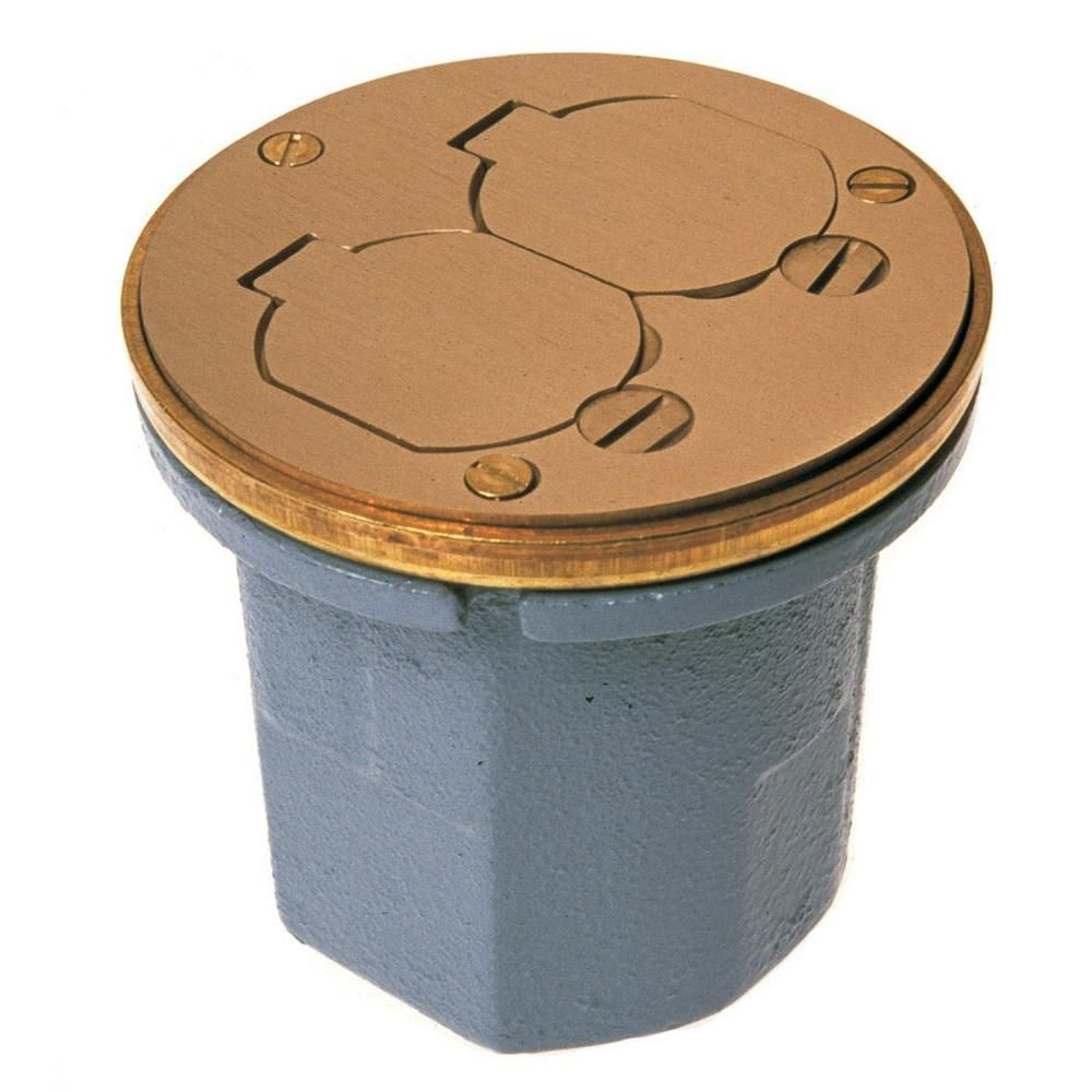 Raco Round Cast Iron Floor Box For Concrete Tile Or Wood Floors 6224 The Home Depot Floor Boxes Wood Floors Floor Outlets