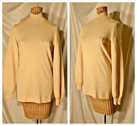 vintage 1960s butter yellow sweater turtleneck by BonfireVintage ...
